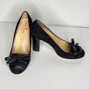 Kate Spade Black Closed Toe Block Heel with Bows